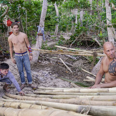 Caleb, Malcolm, and Tony building the shelter.