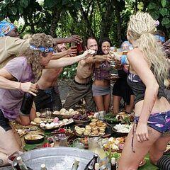 The Aiga tribe celebrates at their merge feast.
