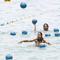 Neal and Debbie compete in <i>Baba Buoy</i>.