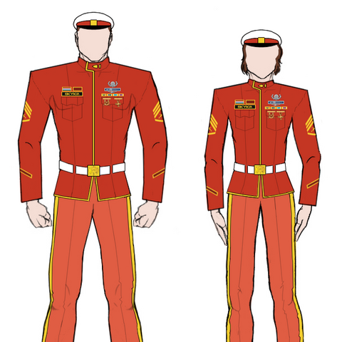 Dress red uniforms as worn by male and female <a href=