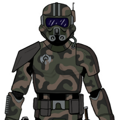 Assault armor with improvised camouflage applied