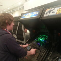 Brian playing a <i>Star Wars</i> game from the 80s.