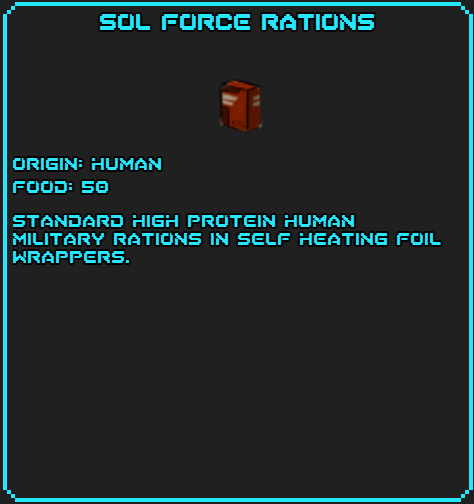 Sol Force Rations info