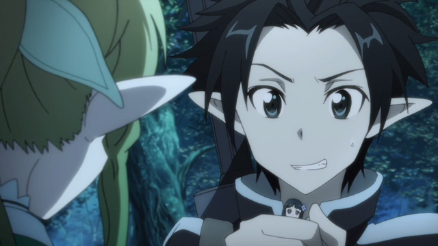 File:Kirito tries to hide Yui from Leafa.png