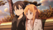 Kazuto and Asuna on a bench