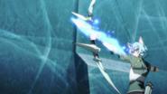 Sinon firing a Sword Skill arrow