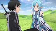 Kirito and Asuna talking about Kikuoka Seijirou