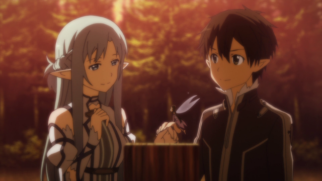 File:Asuna and Kirito purchasing Forest House in ALO.png