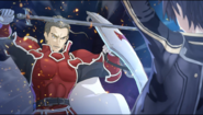 Kirito breaking through Heathcliff's defense