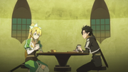 Kirito and Leafa at the Lily of the Valley Pavillion pub