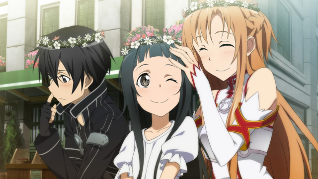 File:Kirito, Asuna and Yui wearing flower crowns.png