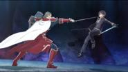 Heathcliff stabbing at Kirito