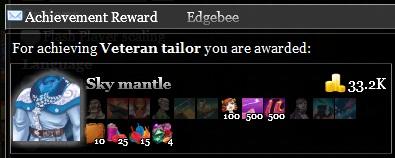 Veteran tailor achievement is Sky mantle recipe