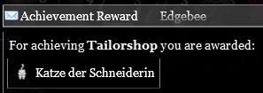 Tailorshop achievement reward
