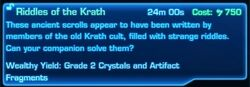 SWTOR Archaeology mission - Discovery Mission - Riddles of the Krath