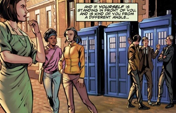 File:Four Doctors Issue 2 All Doctors and Companions.jpg