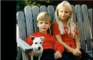 Taylor and Austin cute kids with dog