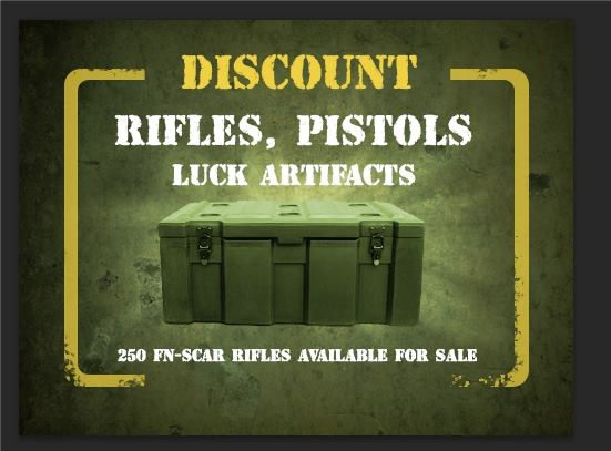 File:Rifles, Pistols, Luck Artifatcs discount.jpg