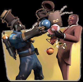 Pyro and Spy trading TF2