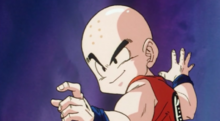 Krillin arriving to assist Goku