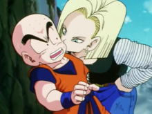 Android 18 kisses Krillin