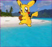 Pikachu XXV stole a cookie and took it to the beach