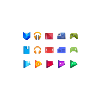 Three generations of Google Play logos. From left to right: Play Books, Play Music, Play Movies & TV, Play Newsstand, and Play Games.