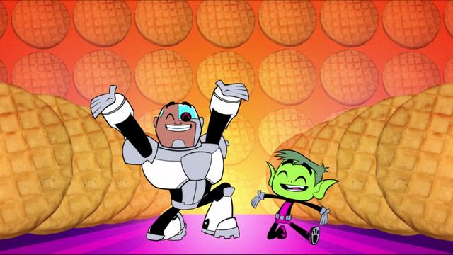 File:Cyborg and Beast Boy love waffles.png