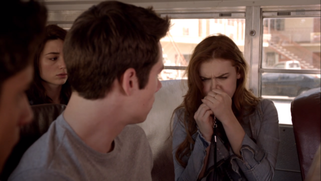 File:Teen Wolf Season 3 Episode 6 Motel California Holland Roden Dylan O'Brien Tyler Posey Crystal Reed Lydia blows whistle.png