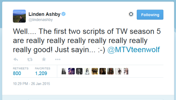 Teen Wolf News Linden Ashby first two episodes tweet