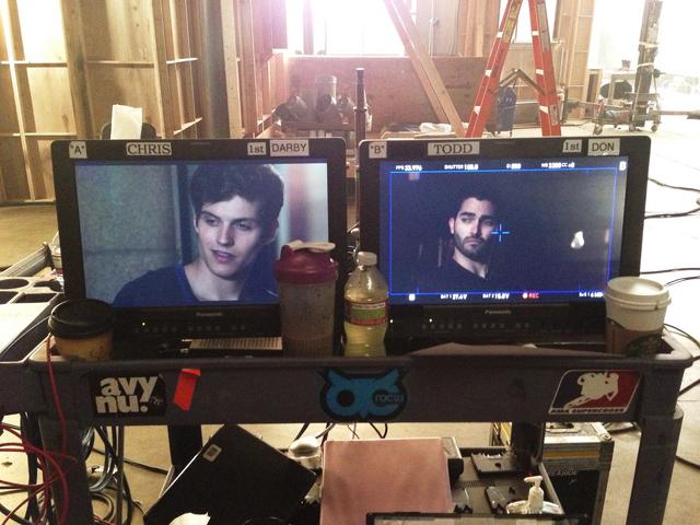 File:Teen Wolf Season 3 Behind the Scenes Daniel Sharman Tyler Hoechlin video monitors.png