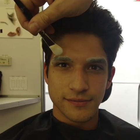 File:Teen Wolf Season 3 Behind the Scenes Tyler Posey Transformation prosthetic prep 2.png