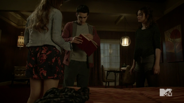 File:Teen Wolf Season 3 Episode 6 Motel California Dylan O'Brien Holland Roden Crystal Reed Stiles Lydia Allison find clues.png