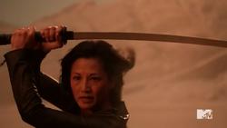 Teen Wolf Season 5 Episode 13 Codominance Noshiko with her sword.png