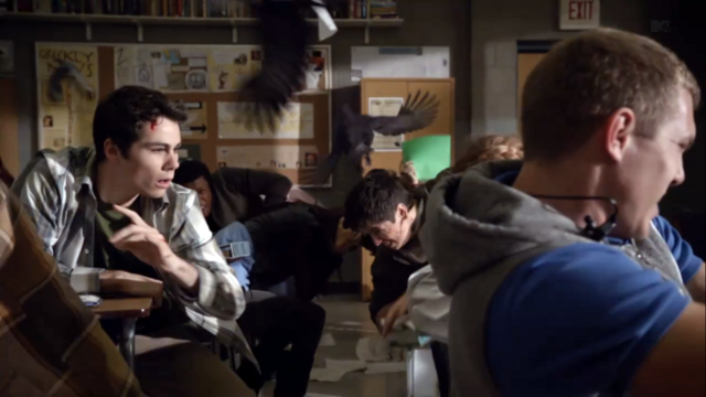 File:Teen Wolf Season 3 Episode 1 Tattoo Dylan O'Brien Stiles Attacked by Birds.png