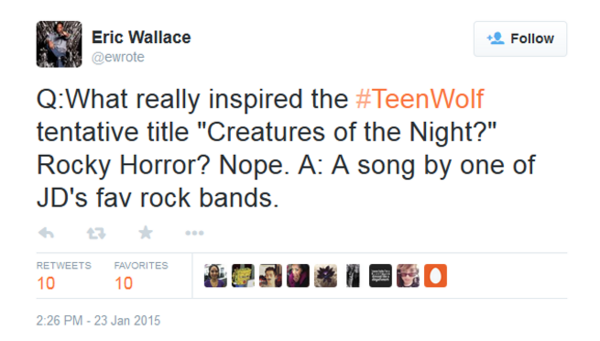 Teen Wolf News Eric Wallace creatures of the night tweet