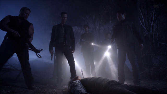 File:Teen Wolf Season 3 Episode 8 Visionary JR Bourne Chris Argent and the Hunters.png