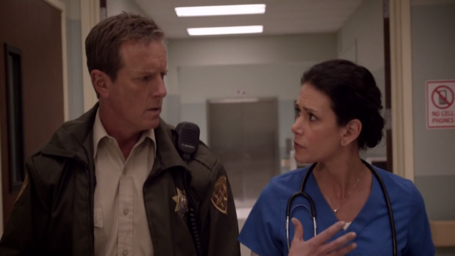 File:Teen Wolf Season 3 Episode 7 Currents Linden Ashby Melissa Ponzio Sheriff and Melissa McCall investigate.png