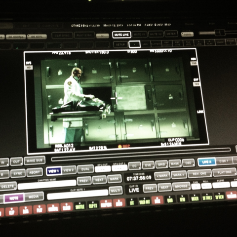 File:Teen Wolf Season 3 Behind the Scenes editing the morgue scene from March 12.png
