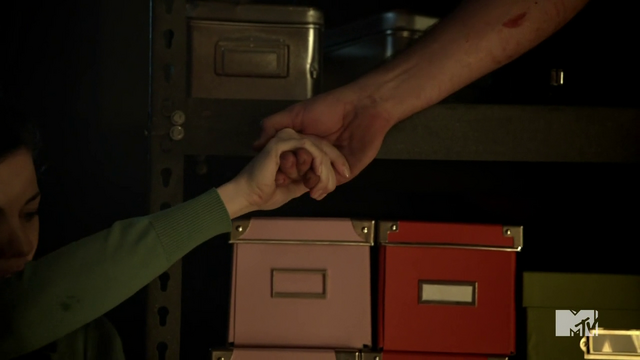 File:Teen Wolf Season 3 Episode 3 Fireflies Haley Webb Ms. Blake takes Derek's hand.png