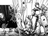 Keiji hitting the ground to send rocks flying