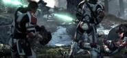 Shock troops in battle