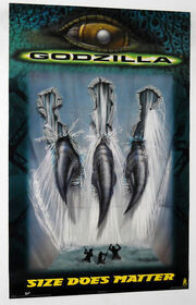 MOVIE POSTER~Godzilla 1998 Size Does Matter Claw Through Dam Original Sheet~New1