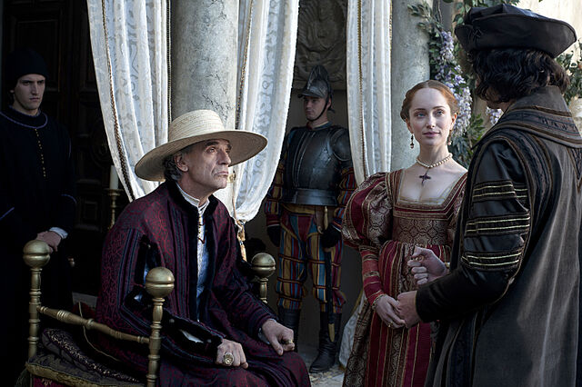 File:004 Lucrezia's Gambit episode still of Rodrigo Borgia and Giulia Farnese.jpg