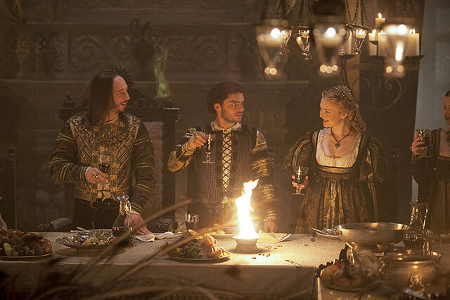 File:002 The Wolf and the Lamb episode still of Ferdinand II of Naples, Alfonso of Aragon and Lucrezia Borgia.jpg