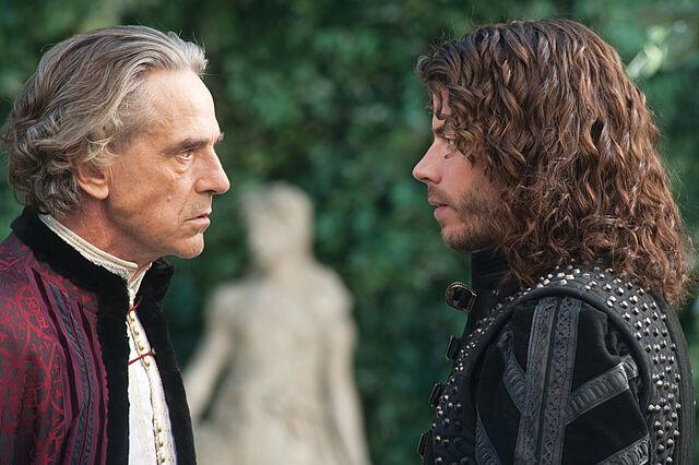 File:002 Lucrezia's Gambit episode still of Rodrigo Borgia and Cesare Borgia.jpg