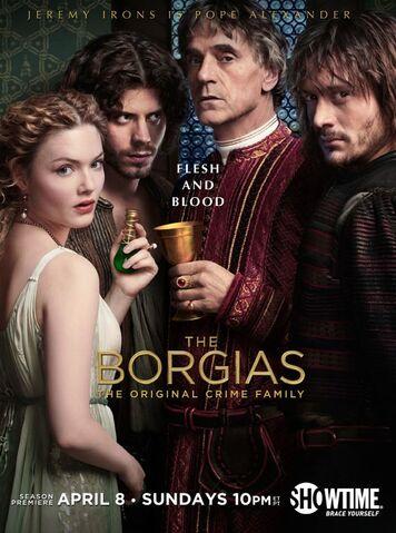 File:003 Season two promo photo of Lucrezia Borgia, Cesare Borgia, Rodrigo Borgia and Juan Borgia.jpg