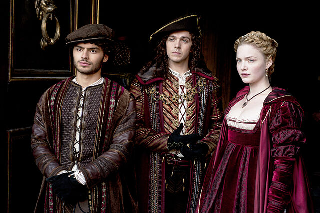 File:016 Lucrezia's Gambit episode still of Alfonso of Aragon, Frederigo of Naples and Lucrezia Borgia.jpg