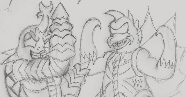 File:Gigan and megalon by supergon 64-d6s2ugy.jpg