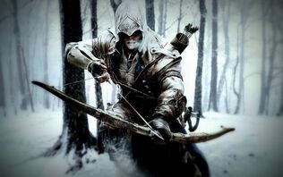 Assassins creed 3 connor kenway in snow with long cross bow-t2